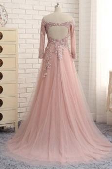 A Linie Appliques Winter Tüll Hochzeit Lehnenlose Abendkleid