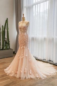 Fiel Taille Meerjungfrau Juwel Schöne Spitze Tüll Brautkleid