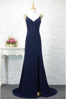 Vorgespalten Klassisch V-Ausschnitt Natürliche Taille Abendkleid