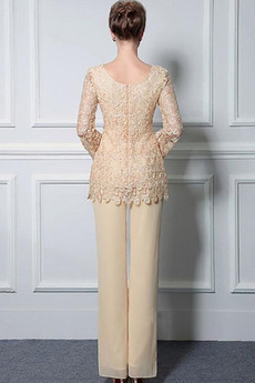 Lange Ärmel Anzug Hochzeit Spitzenüberlagerung Mutter der Braut Kleid