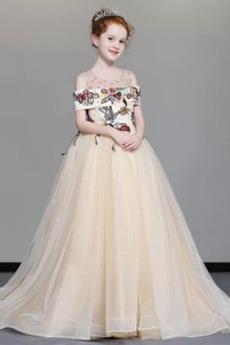 A Linie Tau Schulter Mit geschlossenen Ärmeln Stickerei Blumenmädchenkleid