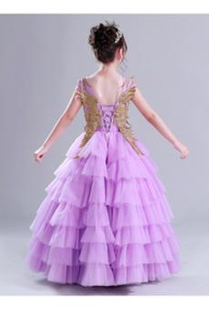 Mehrschichtig Natürliche Taille Ärmellos Tüll Blumenmädchen kleid