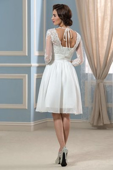 Natürliche Taille V-Ausschnitt Frenal Fallen Knielänge Brautkleid