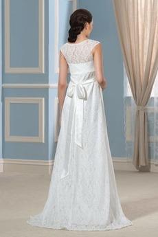 Spitze Reich Taille Hoch bedeckt Fallen Fegen zug Brautkleid