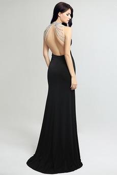 Lange Spandex Dünn Rückenfrei Frenal Bördeln Natürliche Taille Abendkleid