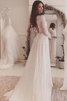 Illusionshülsen Natürliche Taille Sommer Lange Ärmel Brautkleid