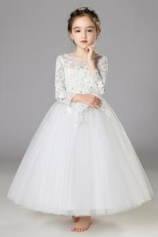 Natürliche Taille Satin A Linie Spitzenüberlagerung Kleine Mädchen Kleid