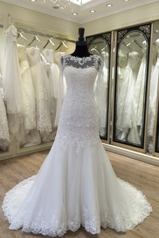Illusionshülsen Spitze Kirche Natürliche Taille Hochzeitskleid