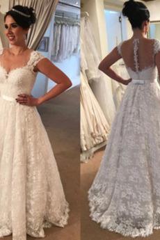 A Linie Natürliche Taille Akzentuierter Bogen Hochzeitskleid