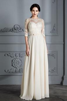 Appliques Juwel Elegante Länge des Bodens Spitze Hochzeitskleid