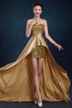 Vorgespalten Sommer Strecken Satin Natürliche Taille Asymmetrische Abendkleid