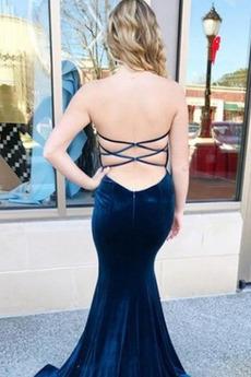 Meerjungfrau Samt Einfach Natürliche Taille Schatz Ballkleid