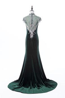 Natürliche Taille Velvet Juwel akzentuiertes Mieder Lange Abendkleid
