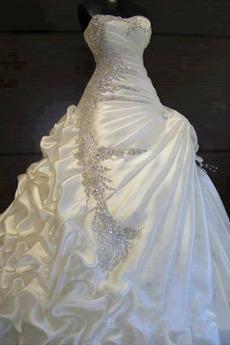 Ärmellos Asymmetrisch Schatz Reißverschluss Kapelle Zug Brautkleid