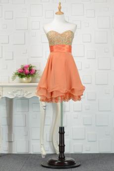 Glamourös Natürliche Taille Frühling Juwel akzentuiertes Mieder Lehnenlose Abendkleid