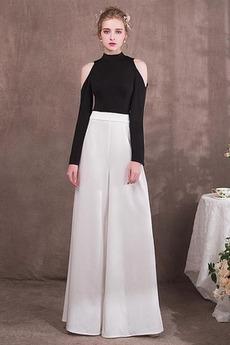 Lange Ärmel Partei Weiß Natürliche Taille Knöchellänge Abendkleid