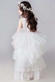 Mehrschichtig Trichter Natürliche Taille Blumenmädchen kleid