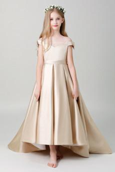 Trichter Frenal Kurze Ärmel Frühling Satiniert Kleine Mädchen Kleid