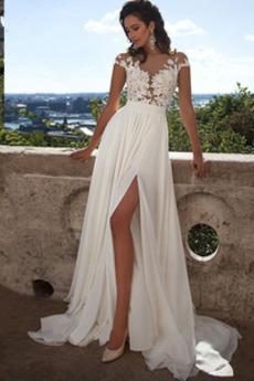 Sommer Lange Oberschenkel-hohen Schlitz Brautkleid mit kurzen Ärmeln