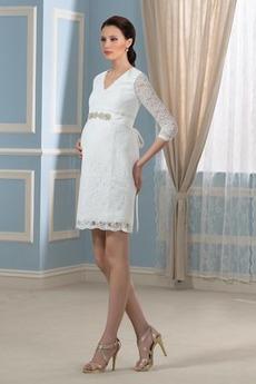 Perlengürtel Frühling Reich Taille V-Ausschnitt Lange Ärmel Brautkleid