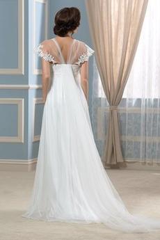 Gefaltete Mieder Reich Taille Schöne Bodenlänge Übergröße Brautkleid