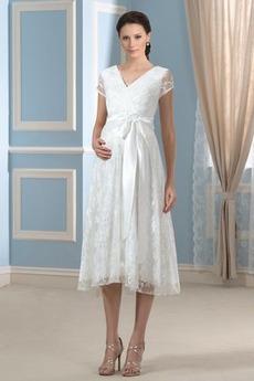 Fallen Reich Taille Knie-Länge Illusionshülsen V-Ausschnitt Brautkleid