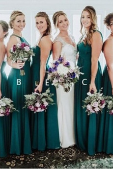 einfache Chiffon A Linie Gefaltete Mieder Eine Schulter Brautjungfer Kleid