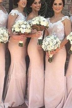 Ärmellos Elegante Spitze Tau Schulter Spitze Brautjungfer kleid