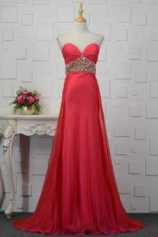 Ärmellos Rot Natürliche Taille Drapiert Sommer Lange Abendkleid