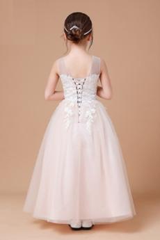 Juwel Formalen Spitze Schnüren Knöchellänge Blumenmädchen kleid