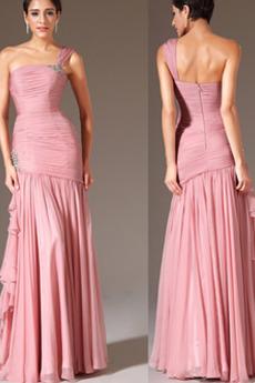 Elegante Drapiert Fiel Taille Leistung Länge des Bodens Abendkleid