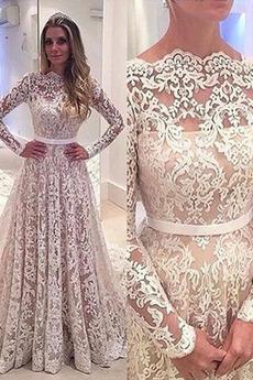 Spitze Spitzenüberlagerung Illusionshülsen Rückenlose Brautkleid
