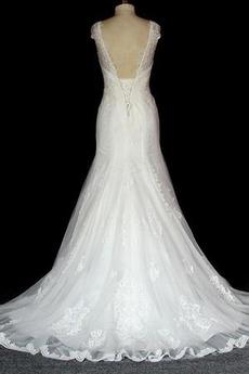 Mit geschlossenen Ärmeln Schnüren Lange Frühling Spitze Brautkleid
