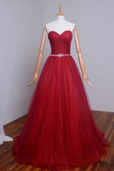 Schatz Reißverschluss Ärmellos Elegante Trichter Natürliche Taille Abendkleid