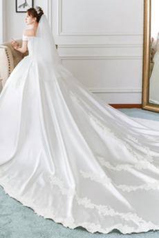 Kurze Ärmel Formalen Spitzenüberlagerung Natürliche Taille Spitze Brautkleid