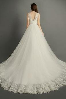 Tüll Fegen zug Natürliche Taille Reißverschluss Halle Brautkleid