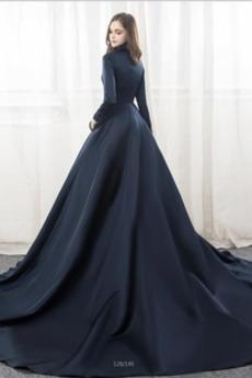 Lange Abperleffekt T Hemd V-Ausschnitt Satiniert Lange Ärmel Brautkleid