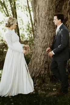 Draussen Frühling Bodenlänge Natürliche Taille Hochzeitskleid