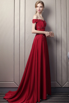 Satiniert Trichter Bördeln Karte A Linie Juwel akzentuiertes Mieder Abendkleid