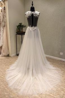 Einfach Rückenfrei A Linie Draussen Rechteck Spitze Brautkleid