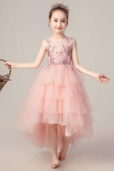 Frenal A Linie asymmetrische Juwel Natürliche Taille Tüll Blumenmädchen kleid