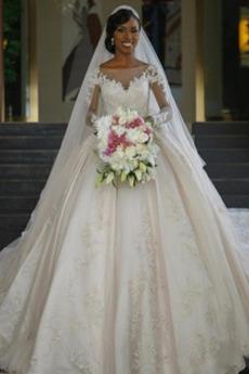 Sommer Lange Zurückhaltend Natürliche Taille Spitzenüberlagerung Brautkleid
