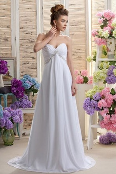 Schatz Frenal Chiffon Perlengürtel Ärmellos Frühling Brautkleid