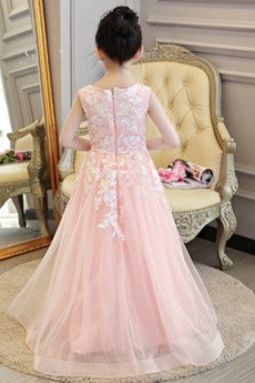Drapiert Ärmellos V-Ausschnitt Schöne Lange Blumenmädchen kleid