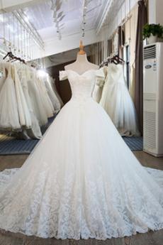 A Linie Perlen Mit geschlossenen Ärmeln Formalen Tüll Brautkleid