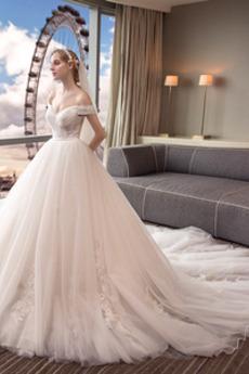 Appliques Spitze Schnüren Formalen Brautkleid mit kurzen Ärmeln