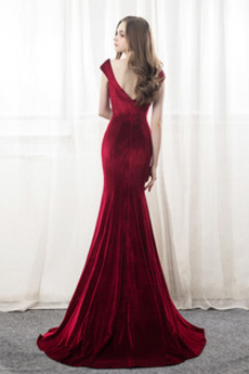 Frenal Tiefer V-Ausschnitt Mantel Lange Mit geschlossenen Ärmeln Abendkleid