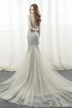 Natürliche Taille Lange Ärmel V-Ausschnitt Abperleffekt Abendkleid