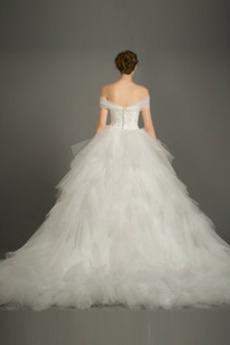 Draussen Frenal Reißverschluss Tüll Spitzenüberlagerung Brautkleid