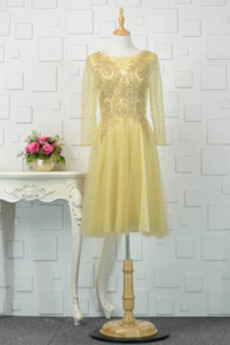 Lange Ärmel T Hemd Apfel Breit flach Natürliche Taille Abendkleid